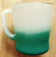 1950s FIRE KING COFFEE MUG, TURQUOISE BLUE FADE, GOLD RIM, MILK GLASS, VINTAGE