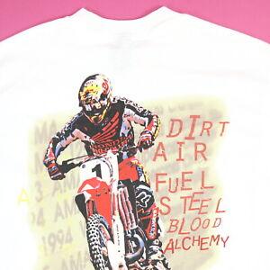 Vtg 90s No Fear T-Shirt M Motorcross Dirt Bike USA Made NOS Single Stitch Grunge