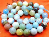 """10mm FacetedRound Blue Natural Amazonite Beads Jewelry Making DIY Strand 15"""""""