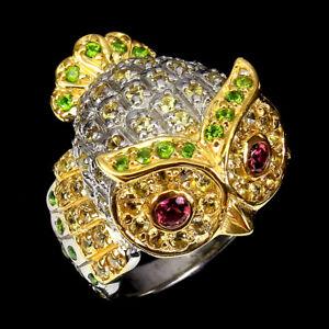 Sapphire Round Diamond Cut Rhodolite Gems 925 Sterling Silver Owl Ring 7.5