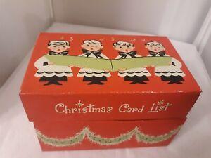 Vtg Stylecraft Christmas Tin Box Choir Boys Card List Hanging Wreath #810