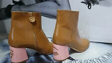 WOMEN Chiara Ferragni LACQUER Ankle BOOTS MUSTARD & PINK Block HEELS EU 37 UK 4