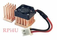 Raspberry Pi 3/2/B+ Heatsink Set 100% Forged Copper With Micro Fan
