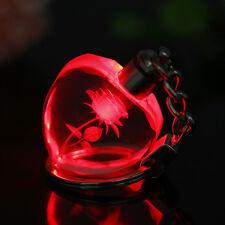 Valentine's Heart Square Crystal LED Light Charm Key Chain Key Ring 3D Keyring U