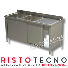 Lavatoio Lavello ARMADIATO inox 2 vasche + sgocciolatoio DESTRO Cm. 150x70x85H