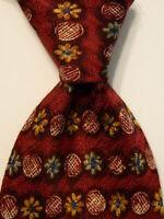 CANALI Men's 100% Silk Necktie ITALY Luxury Designer Geometric Wine/Multi EUC