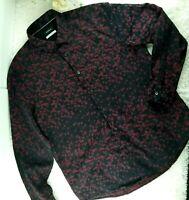 Alfani Platinum mens black red geometric dress shirt SIZE L button front (M)