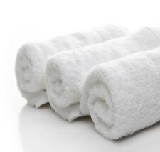 12 NEW WHITE 16X27 BLEND TERRY HAND TOWELS SALON/GYM/HOTEL/TANINNG/JANITORIAL +