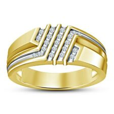 925 Silver Men's Engagement Ring 0.87 Carat Round Diamond 14K Yellow Gold Plated