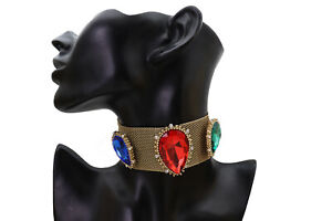Women Gold Mesh Metal Choker Wide Band Necklace Red Blue Green Beads Party Time