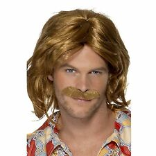 Mens 70s Brown Super Trouper ABBA Fancy Dress Costume Wig & Moustache