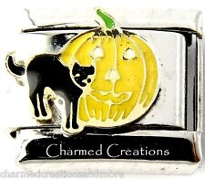 Black Cat And Jack O Lantern Pumpkin Halloween 9mm Italian Charm Stainless Link