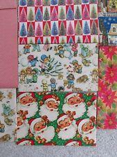 Vintage Christmas Wrapping Paper Lot Santa Children Retro Trees 10 sheets