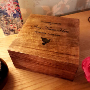 Urn For Human Ashes Wood Funeral Cremation Box Personalised Lasered 25 x 25cm