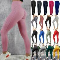 Womens High Waist Leggings Ruched Yoga Pants Push Up Sports Gym Fitness Trousers