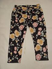 01 Select Black & Pink Floral Rose Print Stretch Leggings Jeggings Size 18