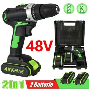 48V Cordless Screwdriver Set Impact Wrench Driver Drill 2 Battery + Charger UK