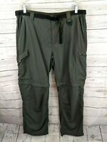 COLUMBIA PFG Mens Belted Outdoor Convertible Cargo Fishing Pants Shorts - 38
