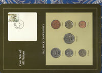 Coin Sets of All Nations Guernsey Brown w/card 1979-1984 UNC £1 1981 Lily 20MY85