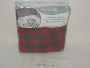 Trend Lab Baby Bedding Flannel Fitted Crib Sheet Dark Brown & Red Checkered NEW