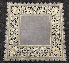 """6 Pieces 20"""" Embroidery Handmade Rhine Stone Doily Doilies - Square Beige Gold"""