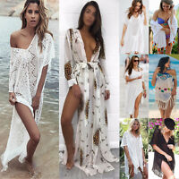Women Lace Crochet Summer Beach Bikini Cover Up Long Swimwear Dress Bathing Suit