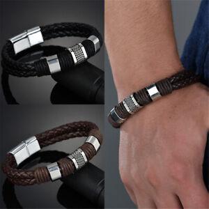 Men Women Flat Leather Titanium Steel Magnetic Braided Clasp Wristband Bracelet