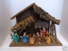 Vintage 9 Piece Plastic Christmas Nativity w/ Manager Italy