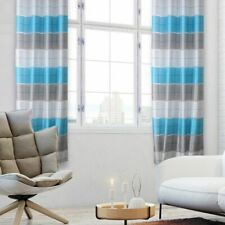 Curtains Window Living Room Bedroom Striped Home Decor Natural Polyester Drapes