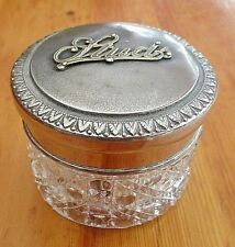 Vintage Edwardian Cut Glass With Metal Top Gents Stud Container