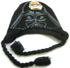 Disney Kid's Black with Darth Vader Face Knitted Laplander Beanie Hat-Brand New!