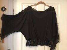 Kaleidoscope black top size 18.sequin/tie hemline. angel sleeves. Fixed cami'