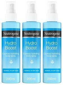 3 x NEUTROGENA HYDRO BOOST HYDRATING SPRAY HYALURONIC ACID NORMAL DRY SKIN 200ml