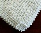 Внешний вид - NEW White Cuddly Soft Beautiful Crochet Christening Baby Afghan Blanket w/ribbon