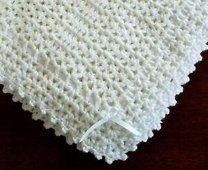 NEW White Cuddly Soft Beautiful Crochet Christening Baby Afghan Blanket w/ribbon