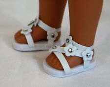 "14"" Wellie Wishers American Girl Doll White Sandals Accessories Shoes"