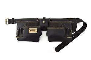 10 POCKET TOP GRAIN LEATHER IN OILY FINISH TOOL BELTS WITH 2 STEEL HAMMER AND A