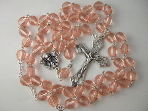 Catholic Rosary 7x8mm large Rose Pink Glass Beads Nice Crucifix & Center medal