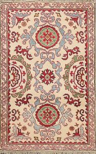 3x4 Floral Vegetable Dye Super Kazak Oriental Area Rug Hand-knotted Wool Carpet