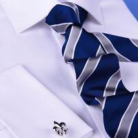 Blue & Silver Striped Formal Business Dressy Fashion Standard 3 Inch Tie