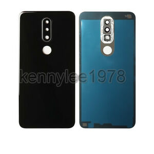 For Nokia 6.1 Plus X6 Glass Rear Back Housing Battery Cover Door + Camera Lens