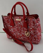 NEW AUTHENTIC MICHAEL KORS CAMILLE FLORAL RED LG LARGE SATCHEL HANDBAG WOMEN'S