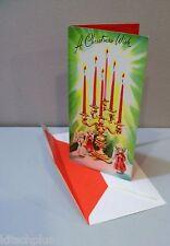 "Vtg Card Highlights for Christmas Candelabra Angels ""We Care"" 50's Unused"