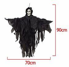 90cm Hooded Skeleton Halloween Hanging Black Skull Reaper Decoration Prop Shop
