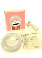 New Cell Phone Rk-14 Selfie Ring Light, in Carton w/Charging Cord, Instructions