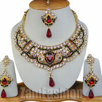 Indian Bollywood Style Gold Plated Kundan Necklace Earrings Set Second Variation