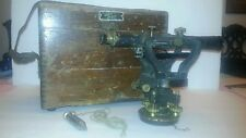 VINTAGE SEILER SITE LEVEL TRANSIT IN WOODEN CARRYING CASE WITH LEATHER HANDLE