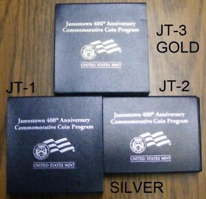 Jamestown Proof 2007-W $5 Gold 400th Aniversary Set with Silver $ $  JT1 JT2 JT3
