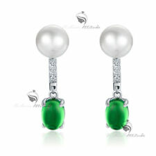 Pearl (Imitation) Drop/Dangle Simulated Sterling Silver Fashion Earrings