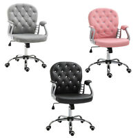 Vinsetto Vanity Office Chair Tufted Backrest Swivel Rolling Height Adjustable